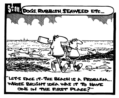 Dogs, rubbish, seaweed etc